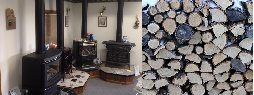 Showroom with wood stack
